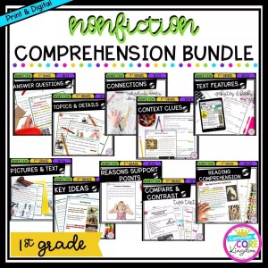 1st Grade Nonfiction Comprehension Bundle cover showing multiple covers of printable and digital worksheets