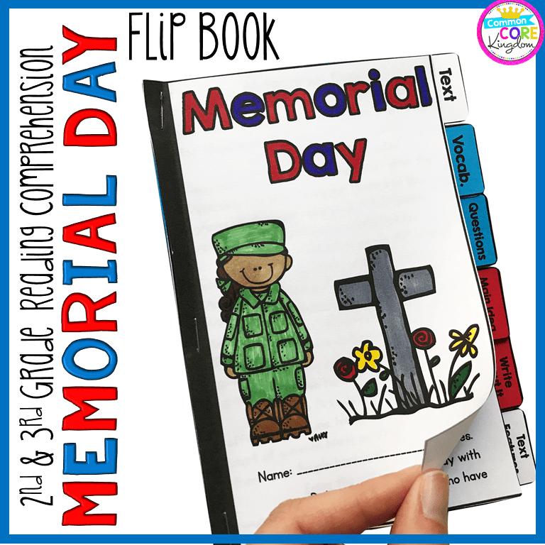 Memorial Day Reading Comprehension Flip Book Activities- 2nd & 3rd Grade  Common Core Kingdom