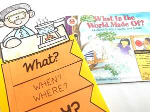 cover of what is the world made of with flip chart and chart topper from mentor standards unit