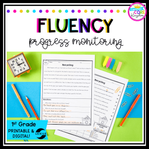 Cover for 1st grade reading fluency resource with printed passages on the cover and pens and a clock with a green background