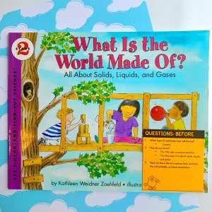 What is the World Made Of book cover with Ask & Answer Questions sticky note on bottom right of book
