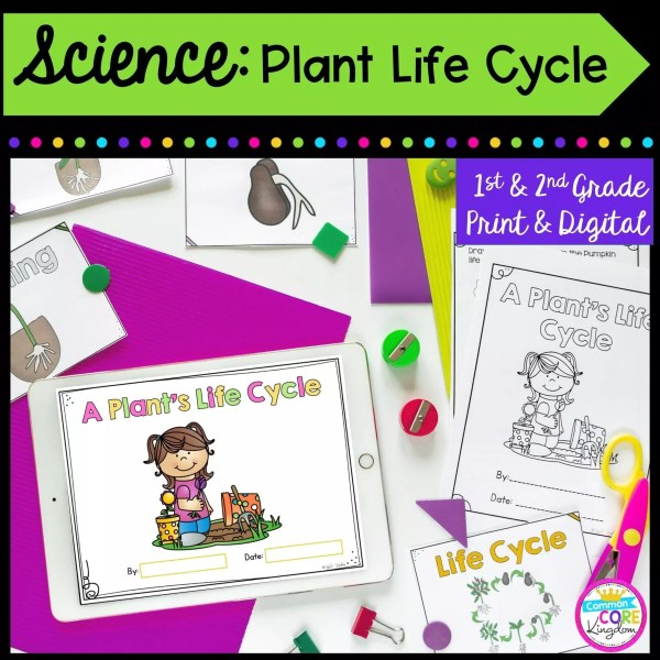Science: Plant Life Cycle for 1st & 2nd Grade Cover showing printable and digital worksheets