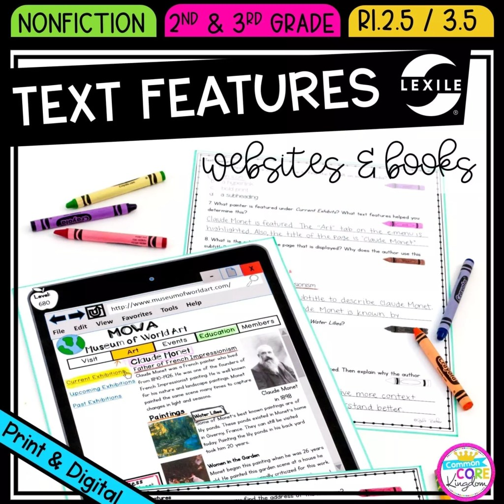 Nonfiction Text Features for 2nd and 3rd grade cover showing printable and digital worksheets