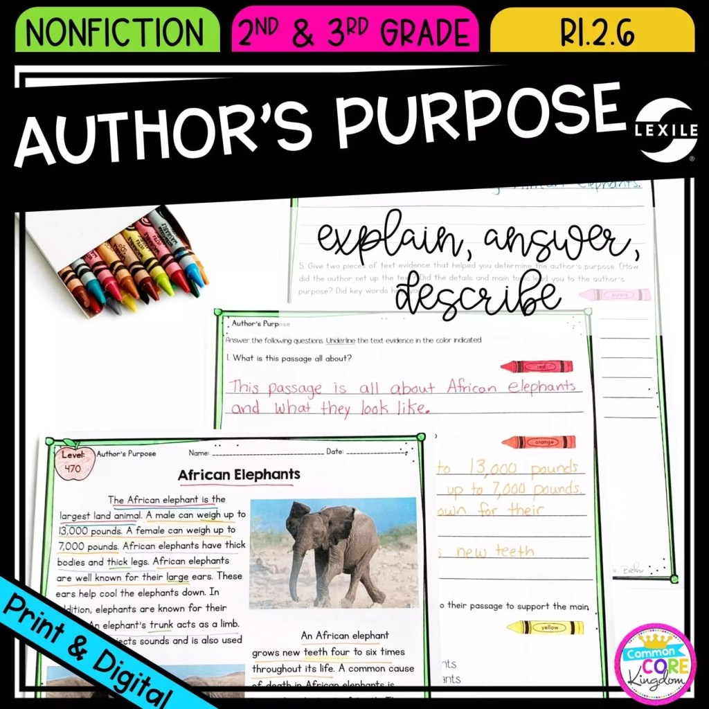 Author's Purpose: To Answer, Explain, or Describe for 2nd grade cover showing printable and digital worksheets