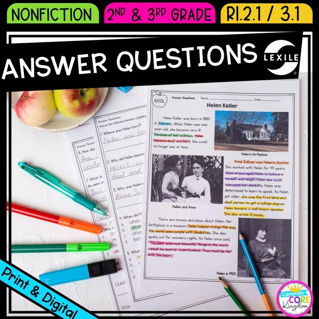 Ask & Answer Questions for 2nd & 3rd grade cover showing printable and digital worksheets