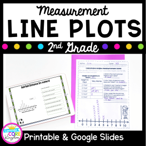 cover for 2nd grade measurement line plots showing worksheets