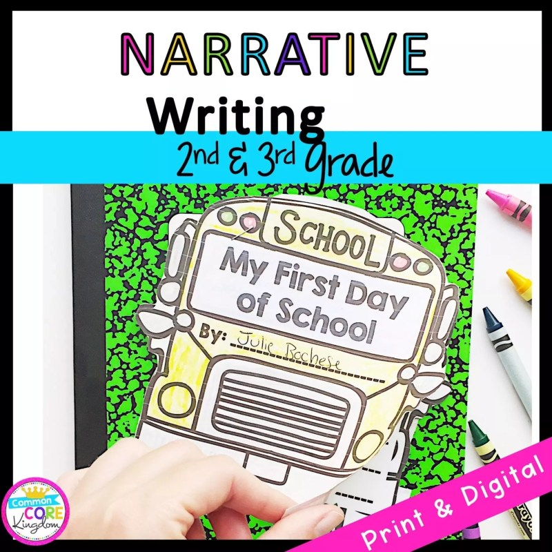2nd & 3rd Grade Narrative Writing Cover showing a journal with a school bus for printable and digital learning