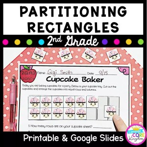 Partitioning Rectangles for 2nd grade math resource cover showing worksheets and text
