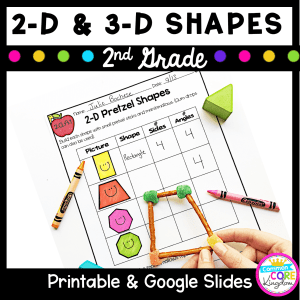 Cover for 2nd grade geometry lesson showing a printable math worksheet