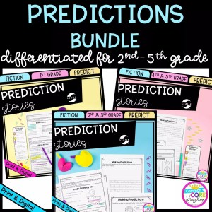 Predictions Bundle Cover for 3 products covering 1st - 5th grades, showing printable and digital worksheets
