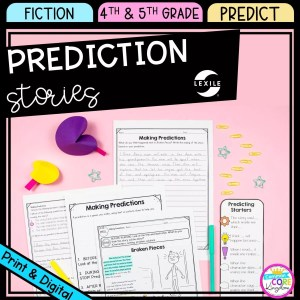 Making predictions cover for 4th & 5th grade showing printable and digital worksheets