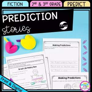 Making predictions cover for 2nd & 3rd grade showing printable and digital worksheets