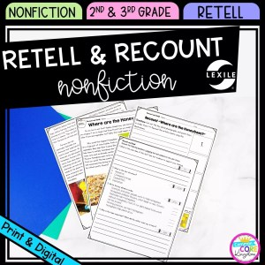 Retell & Recount Cover for 2nd & 3rd Grade showing printable and digital worksheets
