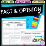 Cover of Fact and Opinion in nonfiction resource for second grade and thirds grade showing images of reading passages and activities.