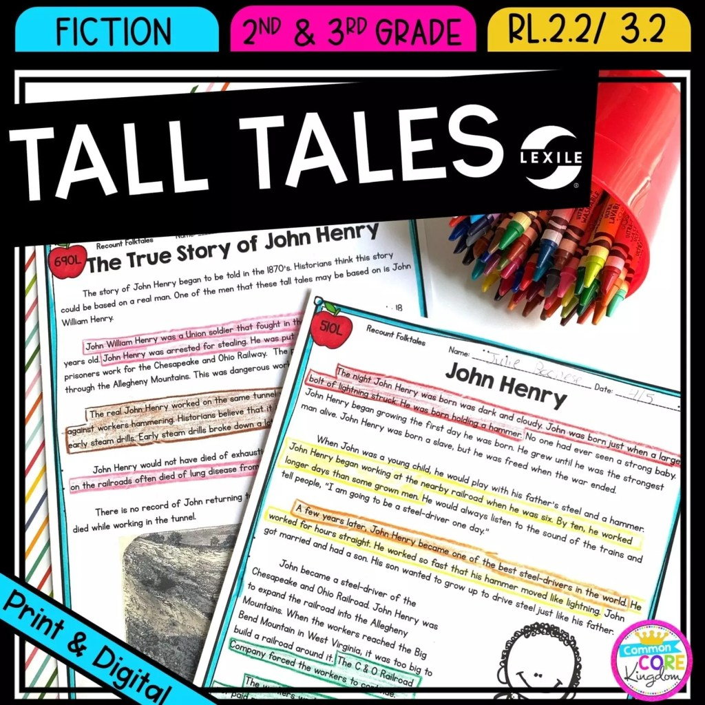 Retell tall tales for 2nd and 3rd grade cover showing printable and digital worksheets