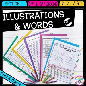 Using Illustrations to Understand Text for 2nd and 3rd grade cover showing printable and digital worksheets