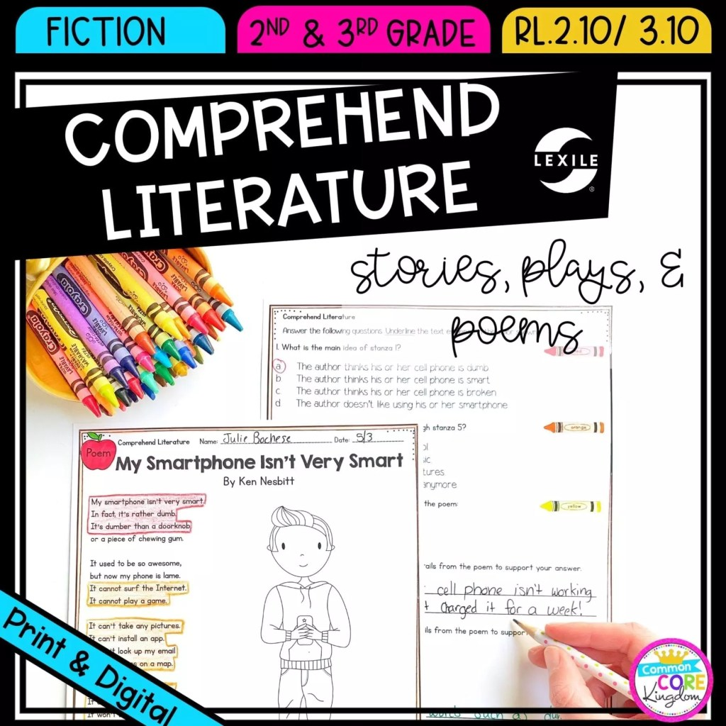 Comprehending Literature for 2nd & 3rd grade cover showing printable and digital worksheets