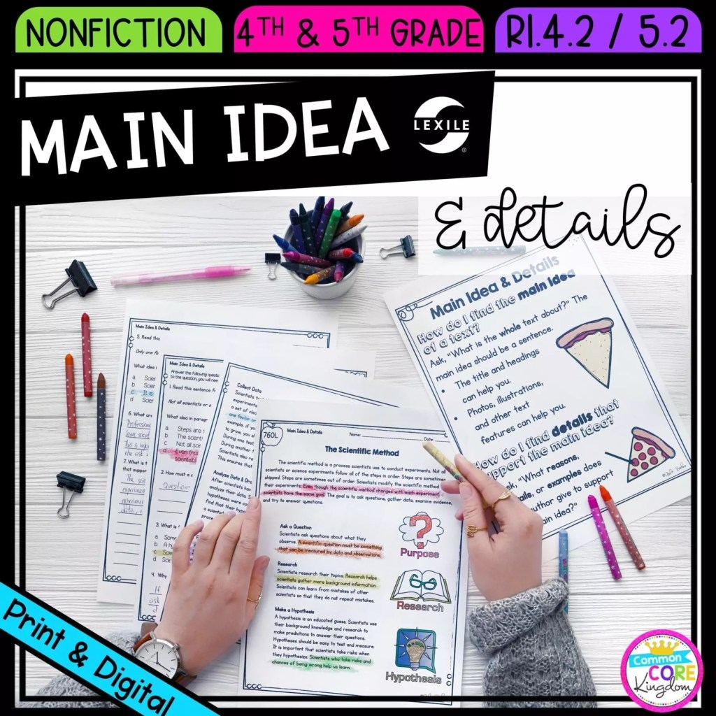 Main Idea and Details in Nonfiction for 4th & 5th grade cover showing printable and digital worksheets
