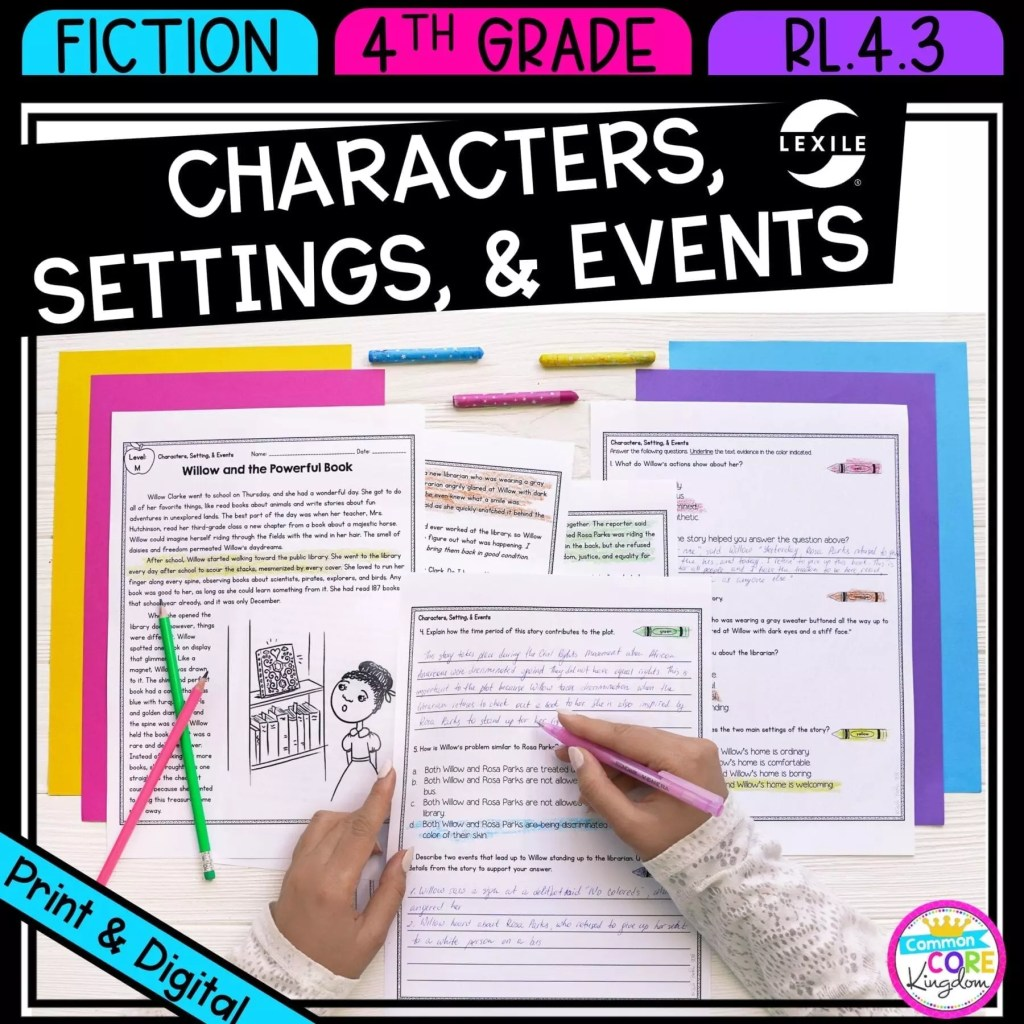 Characters, Setting, and Events in Stories & Drama for 4th & 5th grade cover showing printable and digital worksheets