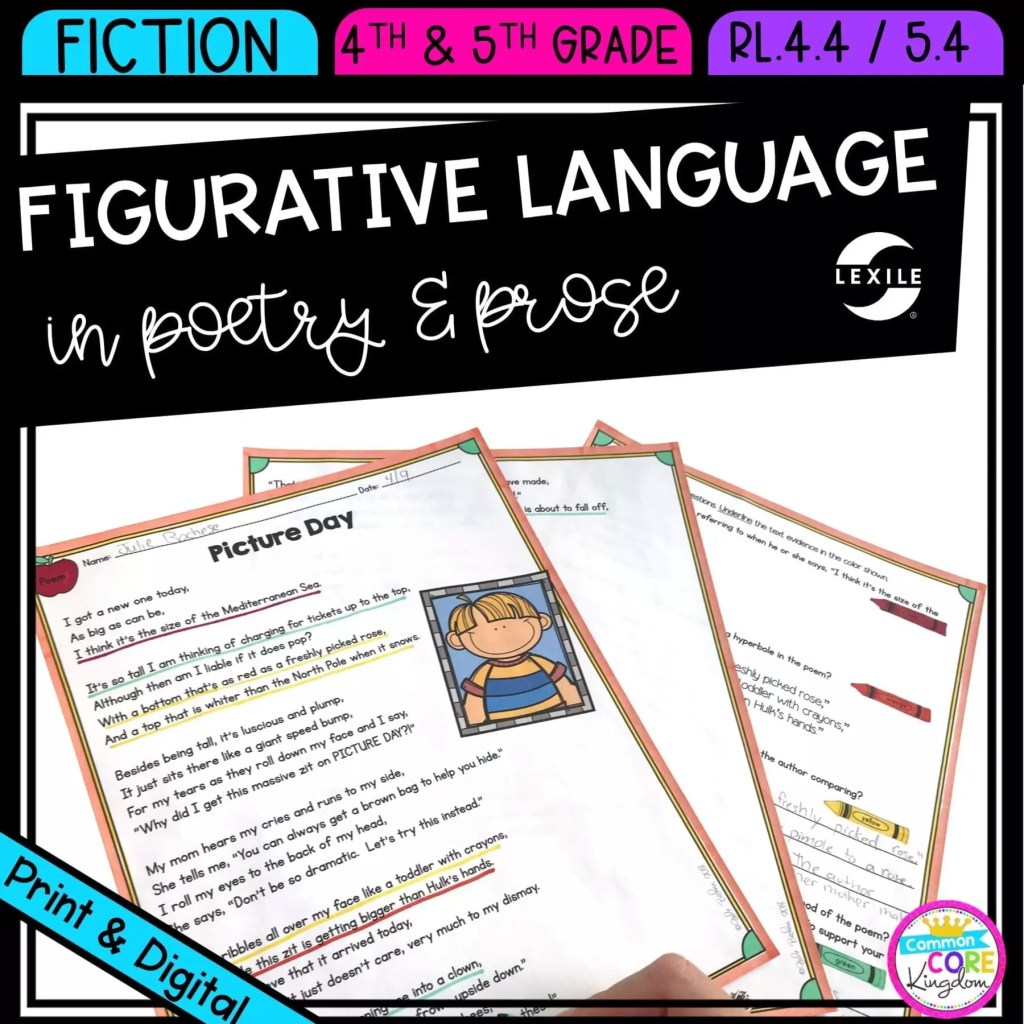 Figurative Language in Poetry and Prose for 4th & 5th grade cover showing printable and digital worksheets