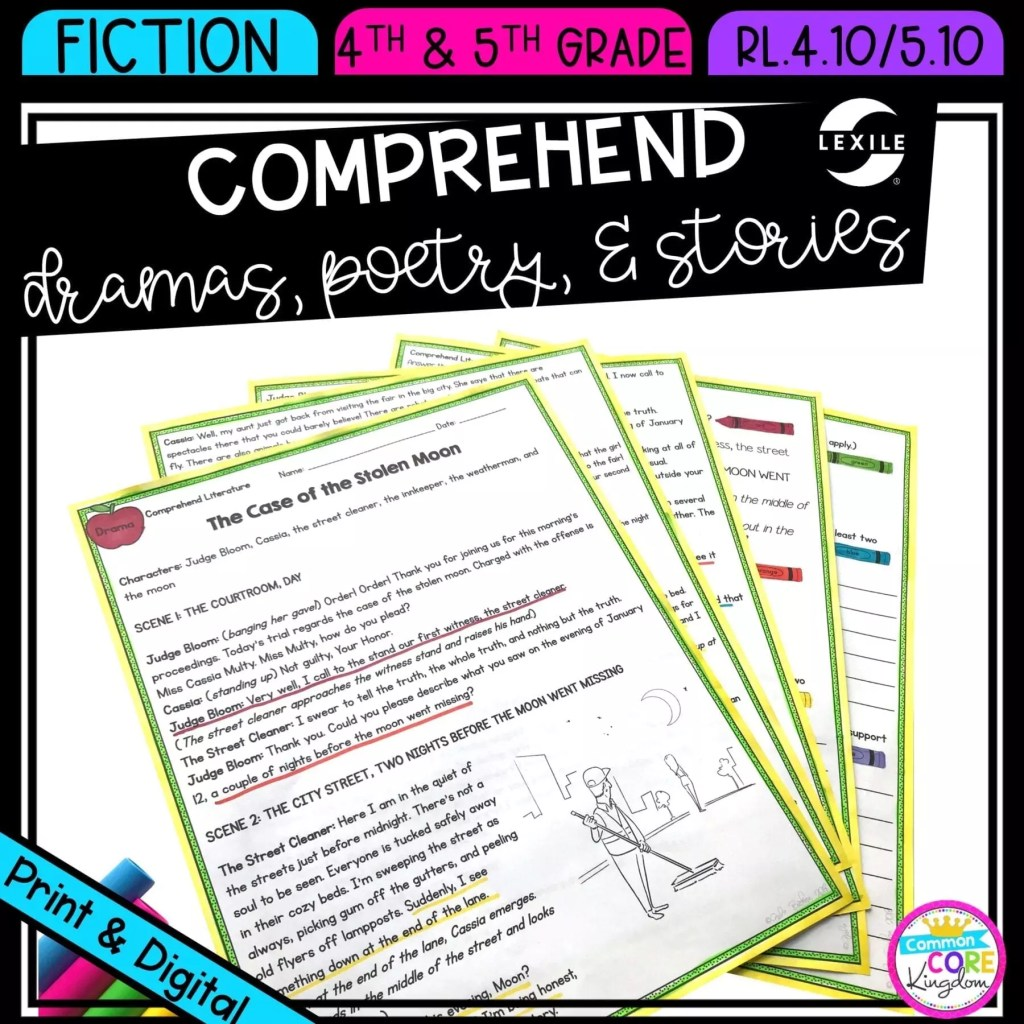 Reading Comprehension in Literature for 4th & 5th grade cover showing printable and digital worksheets