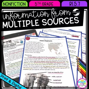 Information from Multiple Sources for 5th grade cover showing printable and digital worksheets