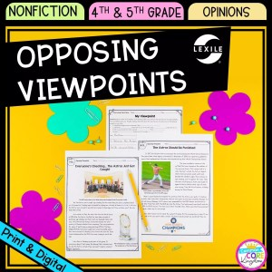 Opposing Viewpoints cover for 4th & 5th grade showing printable and digital worksheets