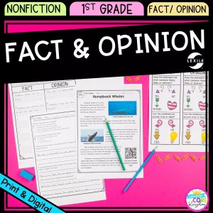 Fact and Opinion cover for 1st grade, showing printable and digital worksheets