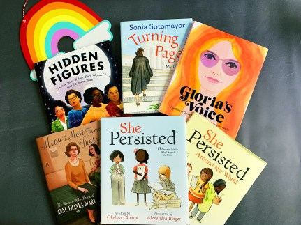 Image showing six upper elementary books with women's history themes that the author uses to teach women's history month.