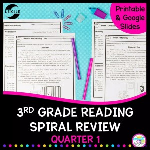 3rd grade reading spiral review cover showing printable worksheets and google forms