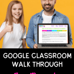 Image showing father and daughter with father holding a computer showing a blog post about how to use google classroom. Both are smiling and seem happy.