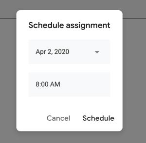 Menu for teachers to schedule an assignment