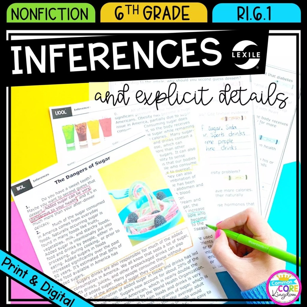 Making Inferences for 6th grade cover showing printable and digital worksheets