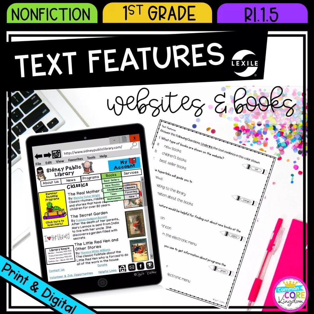 Nonfiction Text Features for 1st grade cover showing printable and digital worksheets
