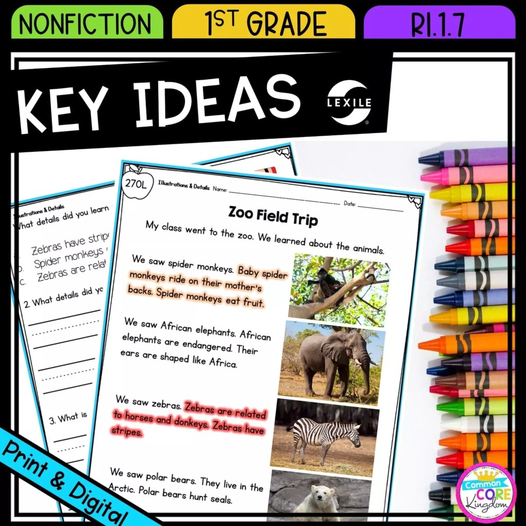 Describe Key Ideas with Illustrations & Details for 1st grade cover showing printable and digital worksheets