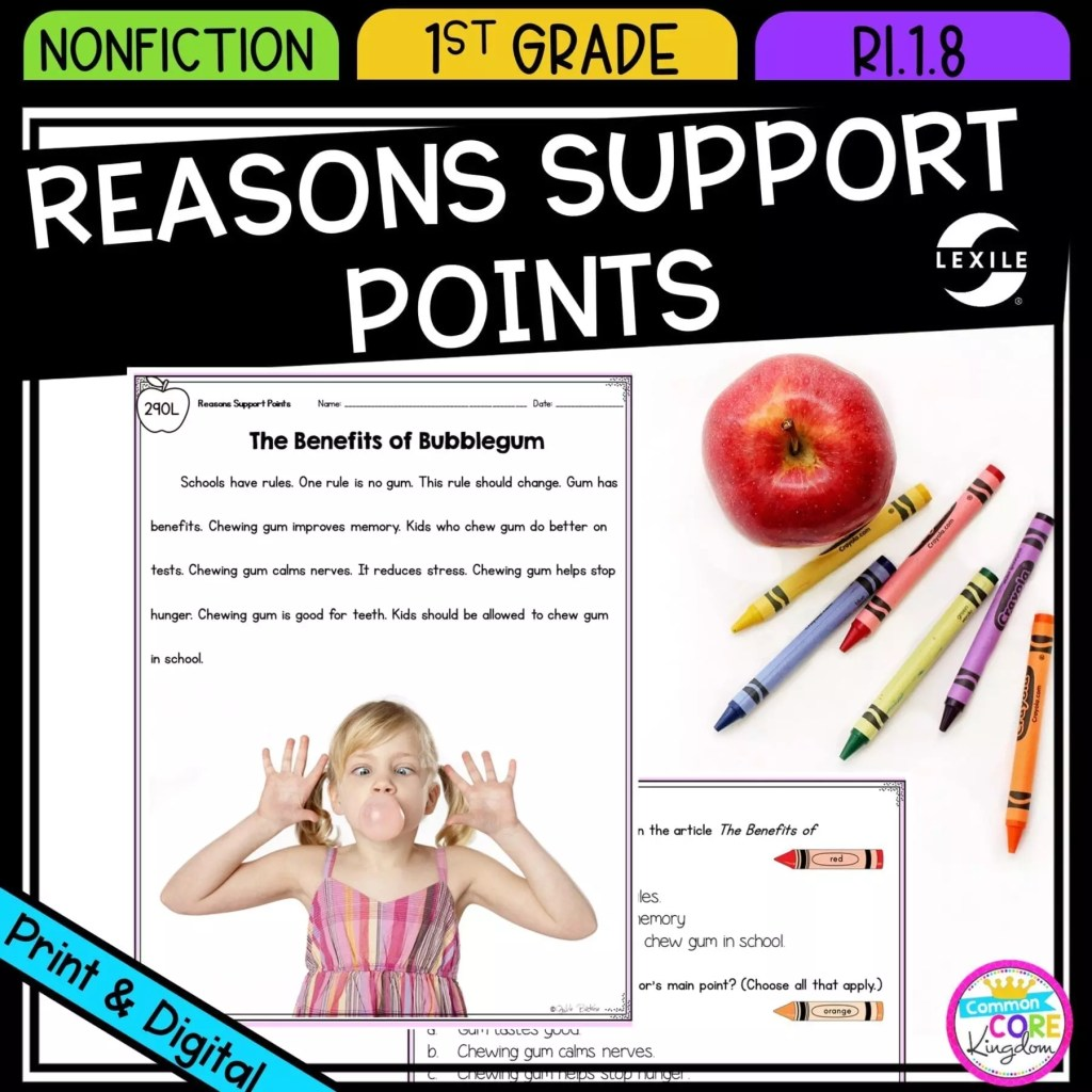 How Reasons Support Points for 1st grade cover showing printable and digital worksheets