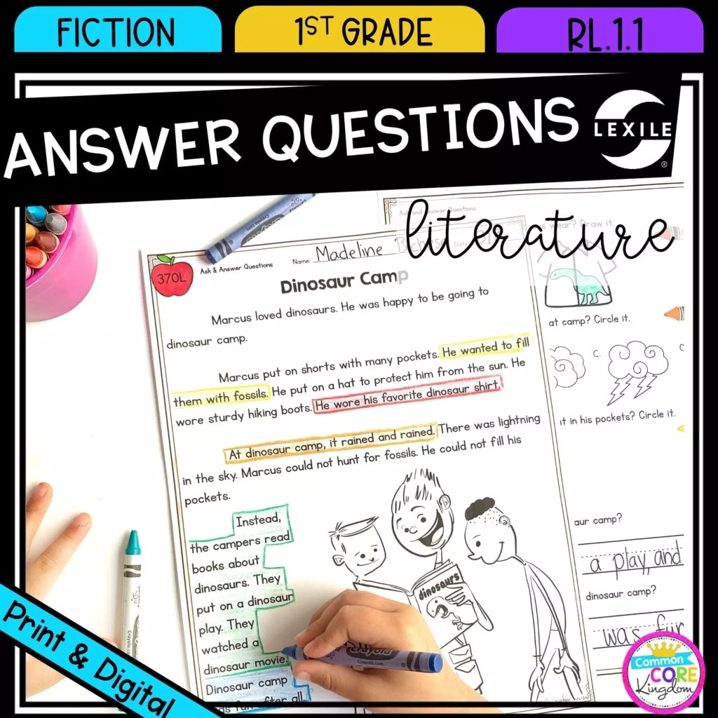 Ask and Answer Questions in Fiction for 1st grade cover showing printable and digital worksheets