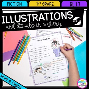 Illustrations in Stories for 1st grade cover showing printable and digital worksheets