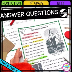 Ask and Answer Questions for 1st grade cover showing printable and digital worksheets