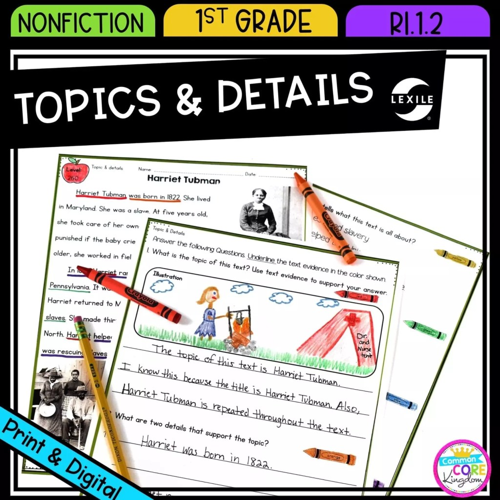 Main Topic & Details in Nonfiction for 1st grade cover showing printable and digital worksheets