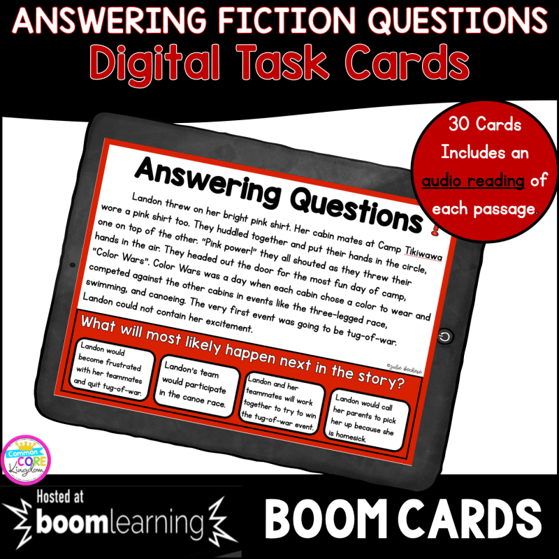 Fiction Ask and Answer Questions boom cards resource cover with a tablet showing a boom card example from the reading task cards