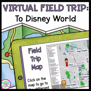 Walt Disney World map on face of tablet with map in background and text saying virtual field trip to Walt Disney World
