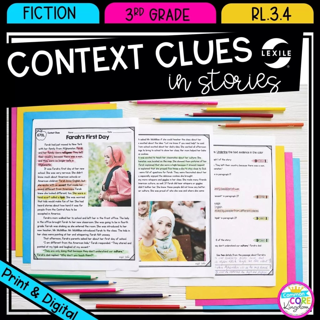 Context Clues in Fiction Stories for 3rd grade cover showing printable & digital worksheets