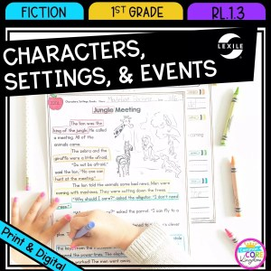 Characters, Settings, and Events for 1st grade cover showing printable and digital worksheets