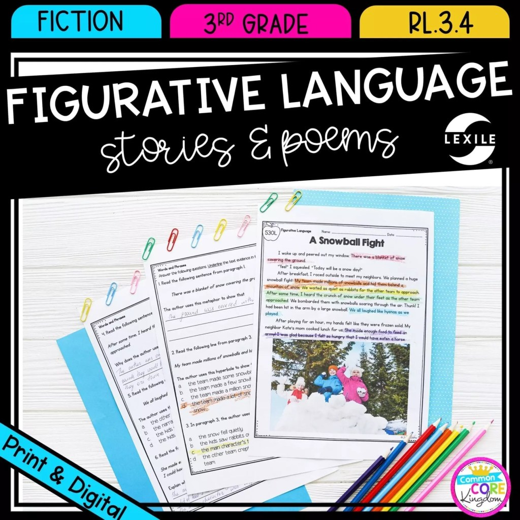 Figurative Language: Stories & Poems for 3rd grade cover showing printable and digital worksheets