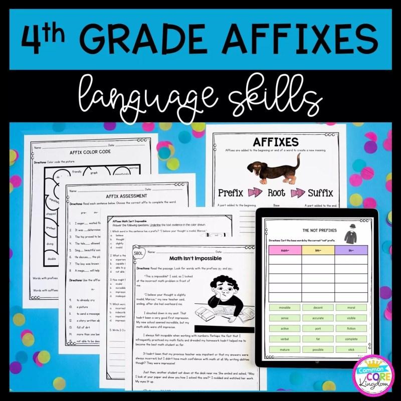 Cover for 4th grade affix unit