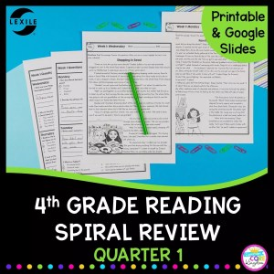 Cover for 4th grade reading resource with text that says spiral review quarter 1 and an image of worksheets from the resource