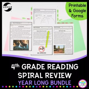 Cover for 4th grade reading spiral review showing reading comprehension worksheets