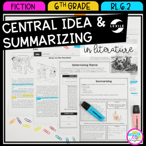 6th grade reading comprehension cover showing central idea and summarizing worksheets and passages