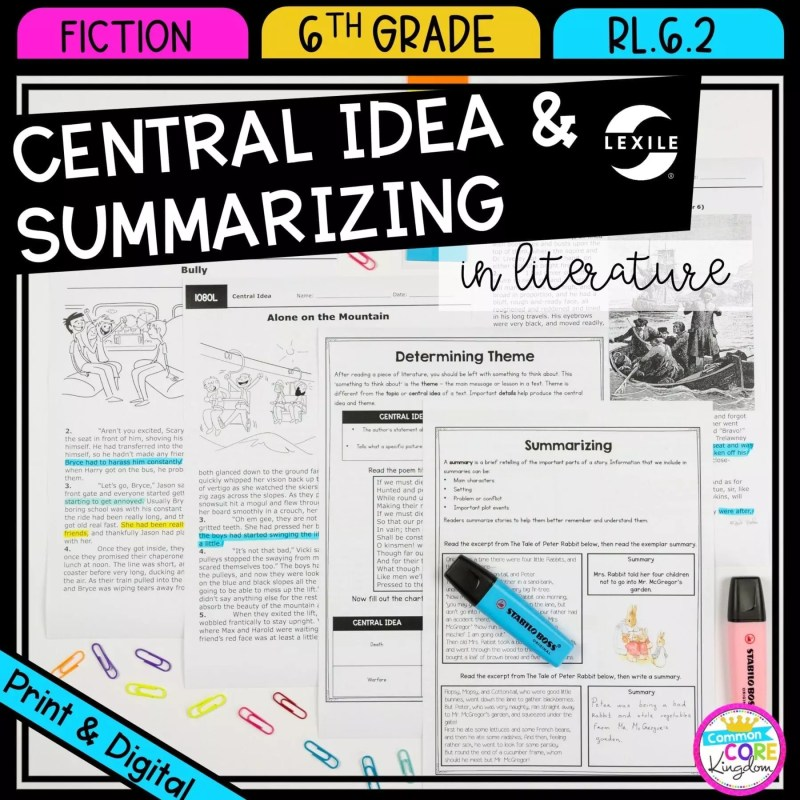 Central Idea and Summarizing resources for sixth grade cover showing printable and digital google slides reading resources